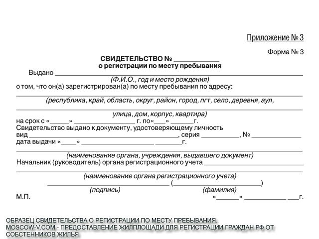Как выглядит бланк официальной временной регистрации. Форма 3